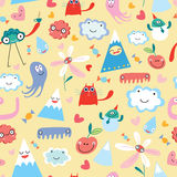 Seamless pattern from funny monsters Stock Photos
