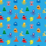 Seamless pattern with funny monsters Royalty Free Stock Photo