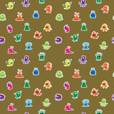 Seamless pattern with funny monsters and aliens Royalty Free Stock Image