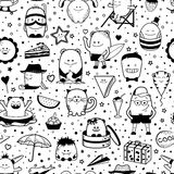 Seamless pattern. Funny monsters, personage. Hand drawn cartoon animals Royalty Free Stock Photos