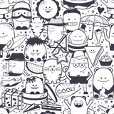 Seamless pattern. Funny monsters, personage. Hand drawn cartoon animals Royalty Free Stock Photography
