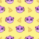 Seamless pattern with funny mouse faces Royalty Free Stock Image