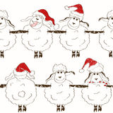 Seamless pattern of funny New Year sheep Stock Photo