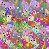Seamless pattern with funny octopuses. Vector 2 Royalty Free Stock Image
