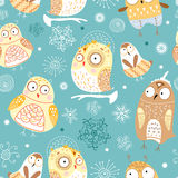 Seamless pattern of funny owls Stock Photography