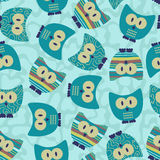 Seamless pattern with funny owls. Cute seamless pattern with funny owls royalty free illustration