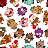 Seamless pattern with funny owls. Royalty Free Stock Images