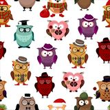 Seamless pattern with funny owls. Royalty Free Stock Photos