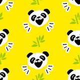 Seamless pattern with funny panda and bamboo on yellow background. Vector Stock Images