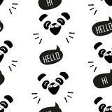 Seamless pattern with funny panda. Cartoon bear says Hello. Vector Stock Images