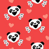 Seamless pattern with funny panda and hearts on red background. Vector Stock Image
