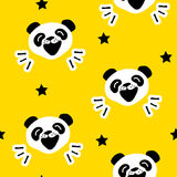 Seamless pattern with funny panda and stars. Vector Stock Image