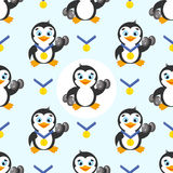 Seamless pattern with funny penguin, gold medal on a blue background. Royalty Free Stock Photo