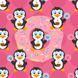 Seamless pattern with funny penguin on a pink background. Stock Photo