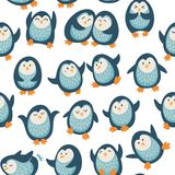 Seamless pattern with funny penguins Stock Images