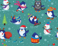Seamless pattern with funny penguins isolated on green background. Cute Christmas seamless pattern with skating penguins, snowmans and snowflakes. Funny cartoon Royalty Free Stock Images