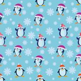 Seamless pattern with funny penguins. Stock Images