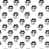 Seamless pattern  of funny peoples, sketch for your design Royalty Free Stock Image