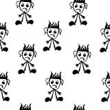 Seamless pattern  of funny peoples, sketch for your design Stock Images