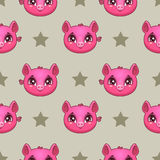 Seamless pattern with funny pig faces Royalty Free Stock Photography