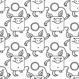 Seamless pattern with funny pigs, symbol of 2019 on the Chinese calendar. Yellow Earthy Pigs with chrysanthemums. Seamless pattern with funny pigs, symbol of vector illustration