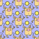 Seamless pattern with funny pigs, symbol of 2019 on the Chinese calendar. Yellow Earthy Pigs with yellow chrysanthemums. Seamless pattern with funny pigs, symbol stock illustration