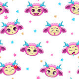 Seamless pattern with funny pink monster faces Royalty Free Stock Photos