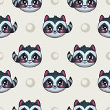 Seamless pattern with funny raccoon faces Royalty Free Stock Photography