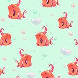 Seamless pattern with funny red girl fishes Stock Image