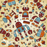 Seamless pattern with funny robots. Vector Stock Photos