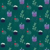Seamless pattern with funny sea jelly (jellyfish) Stock Photography