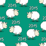 Seamless pattern of funny sheep. Seamless vector pattern of funny sheep symbol of 2015 Royalty Free Stock Image