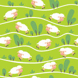 Seamless pattern with funny sheeps onthe hills Royalty Free Stock Images