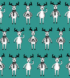 Seamless pattern of funny sketch deers. Stock Photo