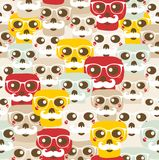 Seamless pattern with funny skulls. Stock Images