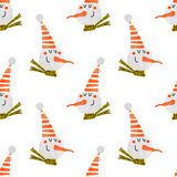 Seamless pattern with funny snowmen royalty free illustration