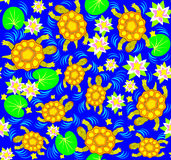 Seamless pattern with funny turtles. Stock Image