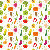 Seamless pattern with funny vegetables. Cute background. Happy v Stock Photos
