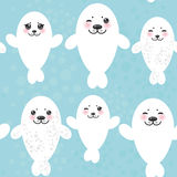 Seamless pattern Funny white fur seal pups, cute Royalty Free Stock Image