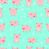 Seamless pattern funy little cute pigs in snow. Cartoon animal v vector illustration