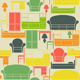 Seamless pattern with furniture Stock Images