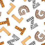 Seamless pattern with furry letters. Vector Stock Photo