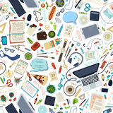 Seamless pattern of gadgets and office supplies. Stock Photos