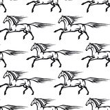 Seamless pattern of galloping horses Stock Photography