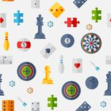 Seamless pattern with game icons in flat design Royalty Free Stock Images