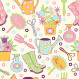 Seamless pattern with garden accessories Stock Photography