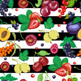 Seamless pattern with garden berries on white and black background Royalty Free Stock Images