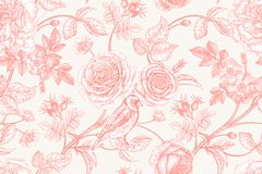 Seamless pattern with garden flowers and birds. Garden flowers roses, peonies and dog rose, bird on branches . Floral vintage seamless pattern. Red and white Stock Image