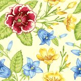 Flower seamless pattern with garden flowers. Seamless pattern with garden flowers. Design for fabrics and textiles, paper and wallpaper, upholstery fabric Stock Photo