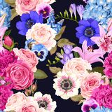Seamless pattern with garden flowers Royalty Free Stock Photo